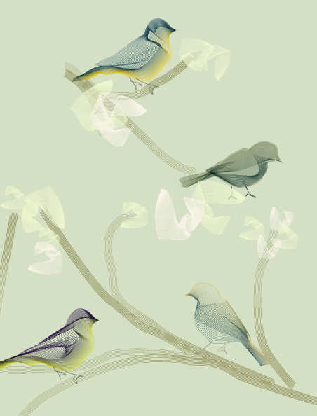 vintage wallpaper birds