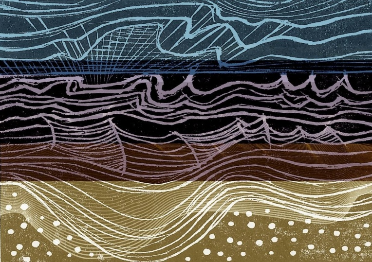 Waves seascape woodcut